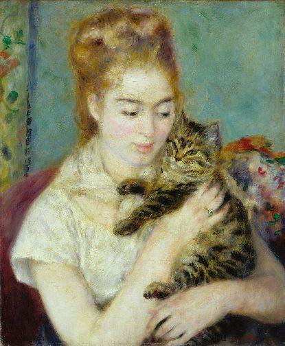 A woman and a cat - Renoir